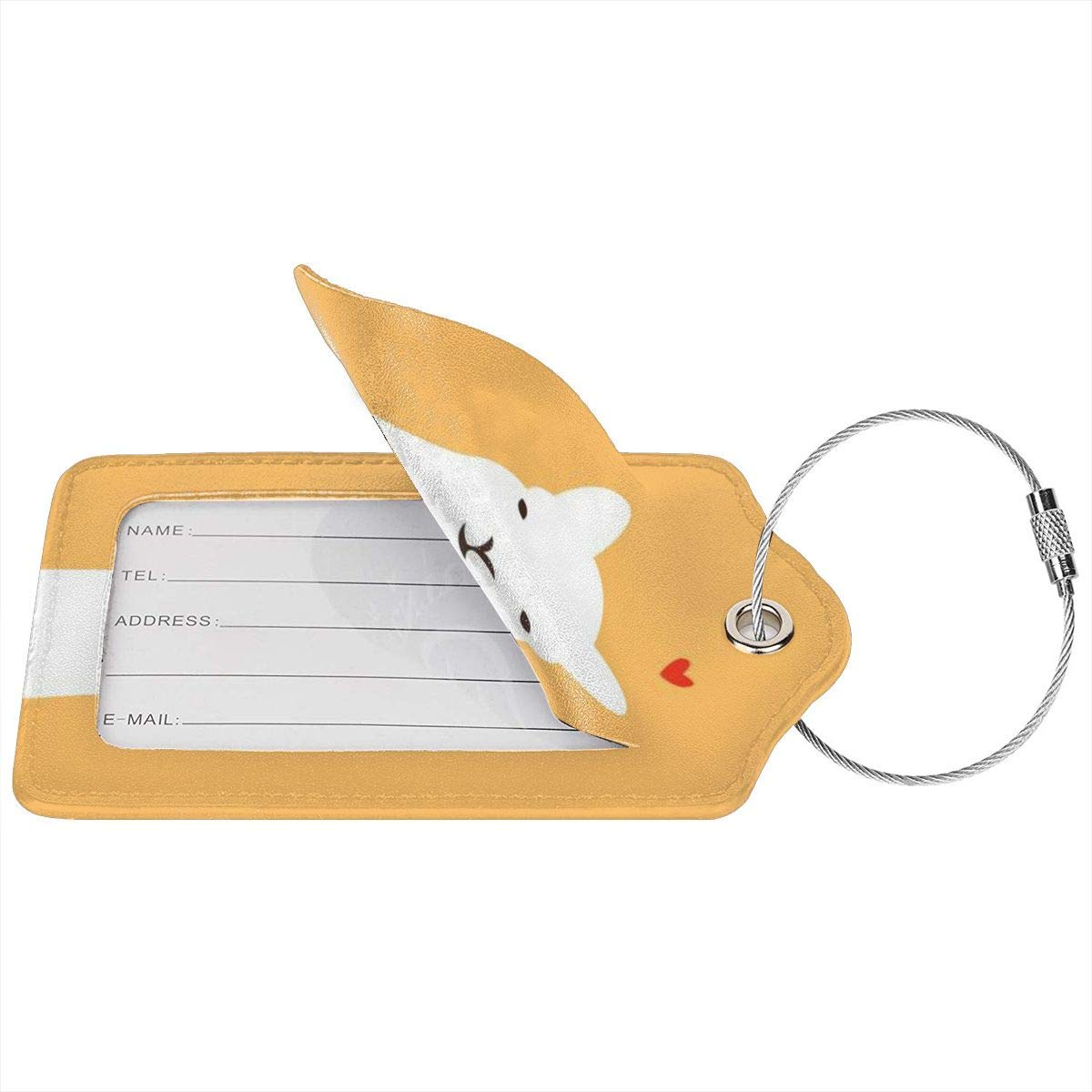 Llama Heart 2.7 x 4.6 Blank Tag Key Tags for Backpacks Travel Bags Gift Leather Luggage Tags Full Privacy Cover and Stainless Steel Loop 1 2 4 Pcs Set