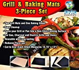 Grill Mat and Baking Sheet 3-Piece Set-Non-stick Economical Way to Grill, Barbeque and Bake-Easy Cleanup-BBQ and Oven Safe-Great Grill Marks Without Flareups-Grill Mats and Baking Sheet are Reusable and Strong-Perfect for Indoor and Outdoor Cooking-Make L