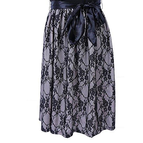 Falda De Vestido De Las Mujeres Encaje Retro Costura Vestido De Vestido Grande Con CinturóN Verano Spandex De Fibra De PoliéSter De OtoñO Black