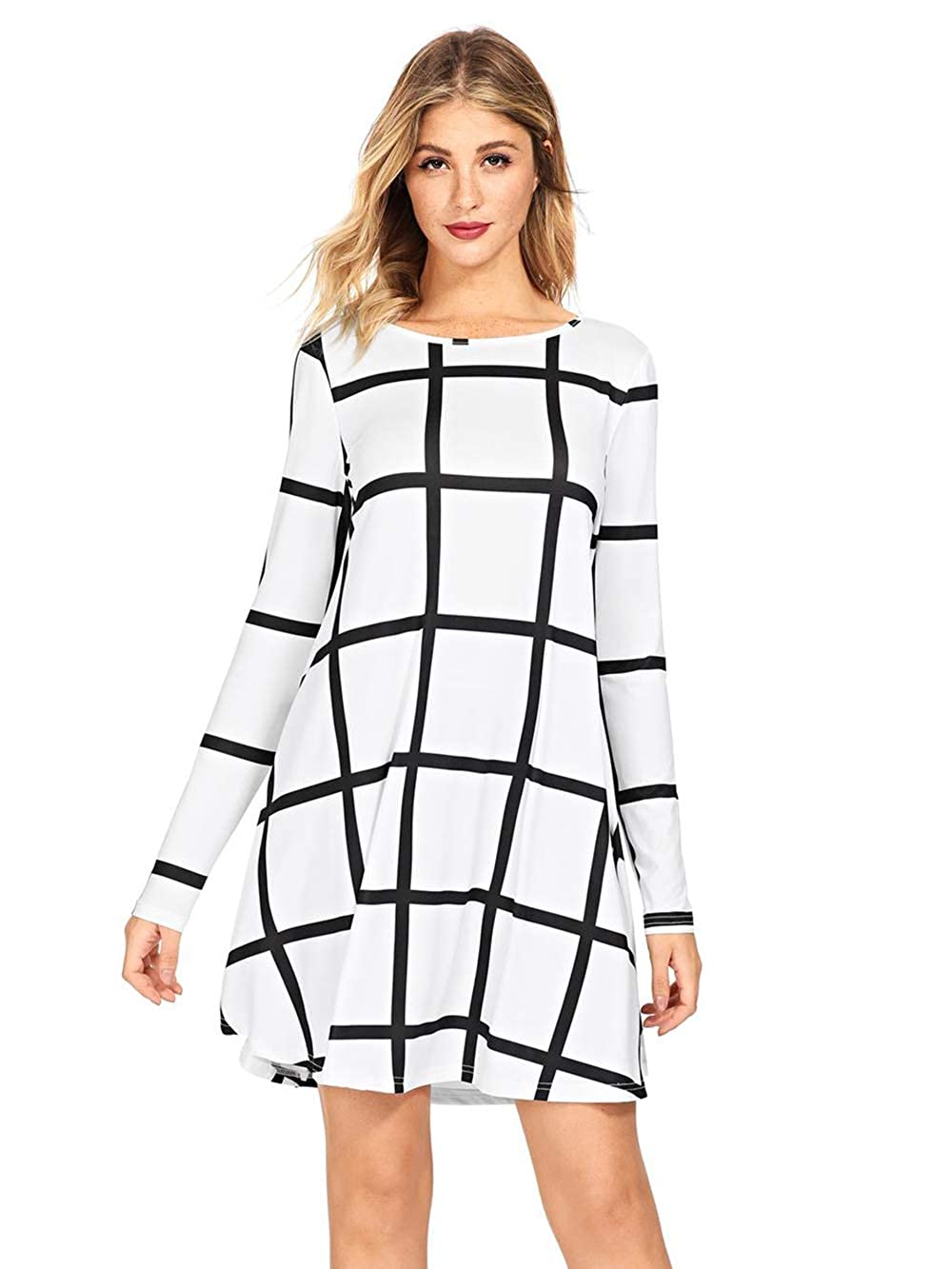 Black   White SheIn Women's Grid Check Print Long Sleeve Swing Dress