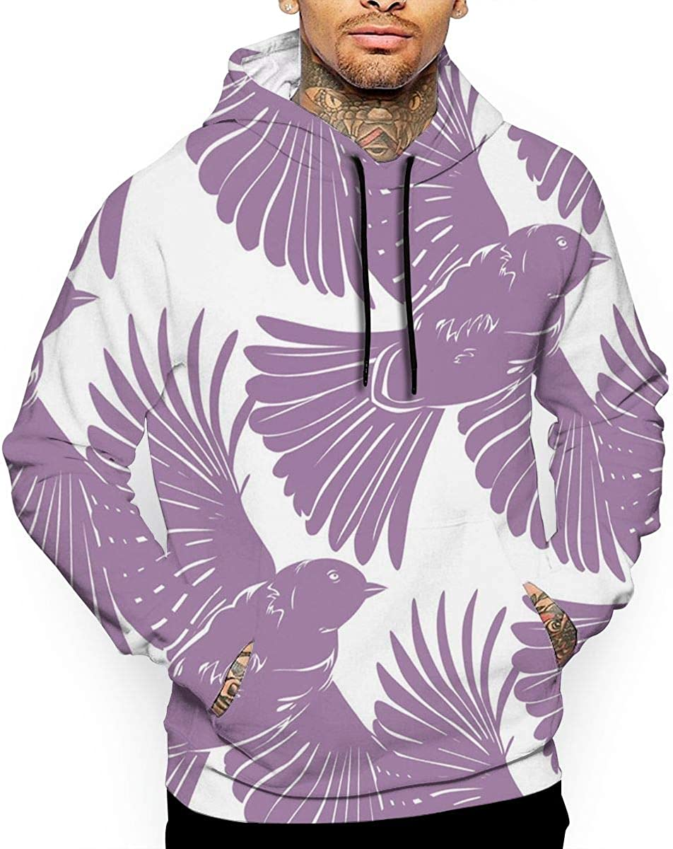 Purple Bird T-Shirt Hooded with A Pocket Rope Hat Customization Fashion Novelty 3D Mens