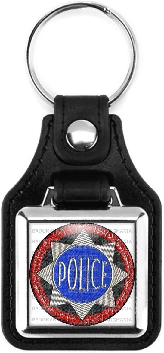 Badgmania Porte Cl/és Carr/é Cuir M/étal Etoile Police Fond Noir