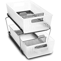 madesmart 95-80021-03 Two-Tier Organizer with Dividers Frost-with Dividers Large