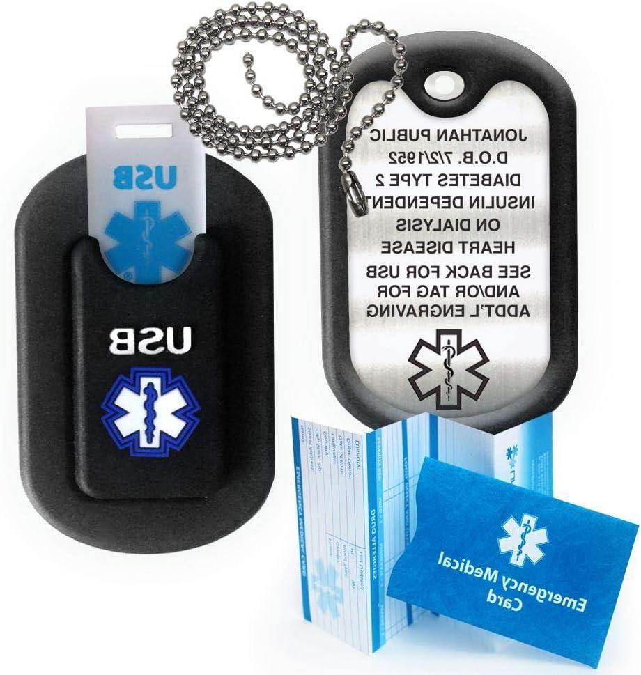 Includes 15 lines custom engraving! Fully Waterproof Medical Alert INFORMER 2 GB USB and custom engraved medical alert Dog Tag