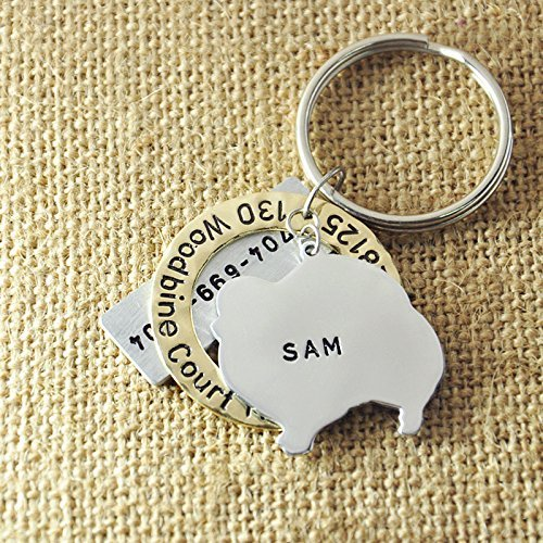 Personalized Pomeranian Dog Tag, Pet Id Tag 3 Pieces Set, Hand Stamped Dog Tag, Customized Pet Tag With Your Dog's Name