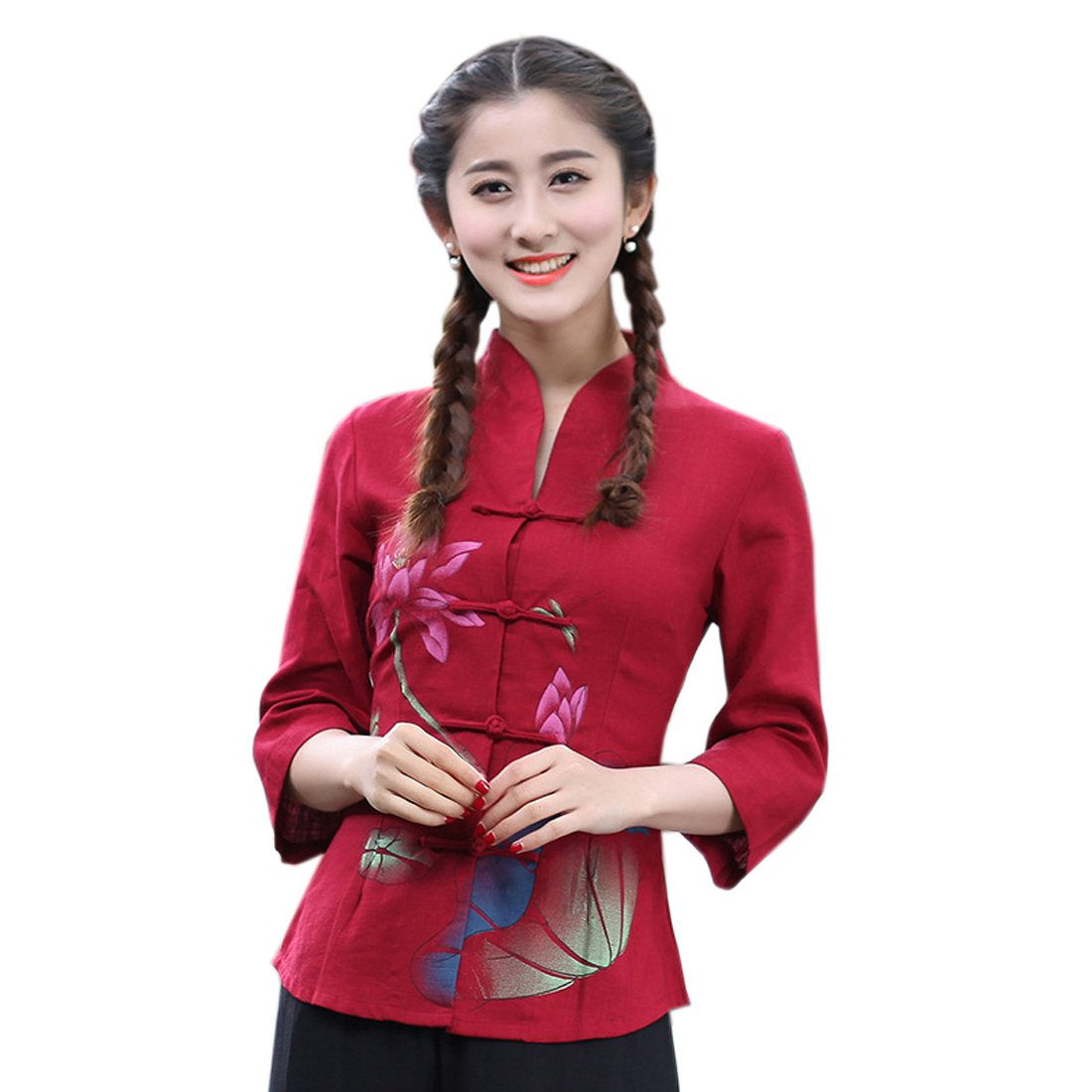 XueXian(TM) Womens Long Sleeve Lotus Chinese Style Ladies Tang Suits Autumn (China L:Bust 36.22'' Waist 30.70'')
