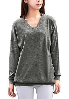 adfe16ea5006e Bigood Sweat-shirt à Capuche T-shirt Femme Pull Velours Top Manche Longue  Col