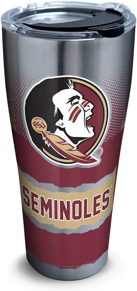 Tervis 1267968 Florida State Seminoles Knockout Stainless Steel Tumbler with Clear and Black Hammer Lid 30oz, Silver