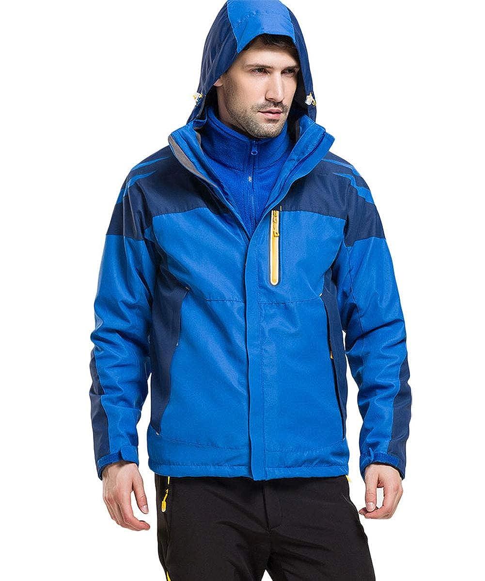 Bleu Royal XL SANKE Veste de Ski d'hiver imperméable Coupe-Vent imperméable 3 en 1 pour Homme