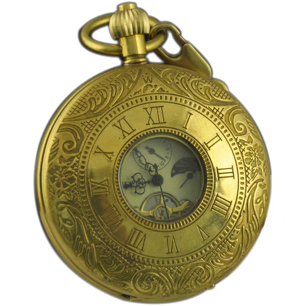 VIGOROSO Men's Vintage Pocket Watch Golden Copper Roman Numbers Hunter Hand Winding Mechanical Case Chain in Box