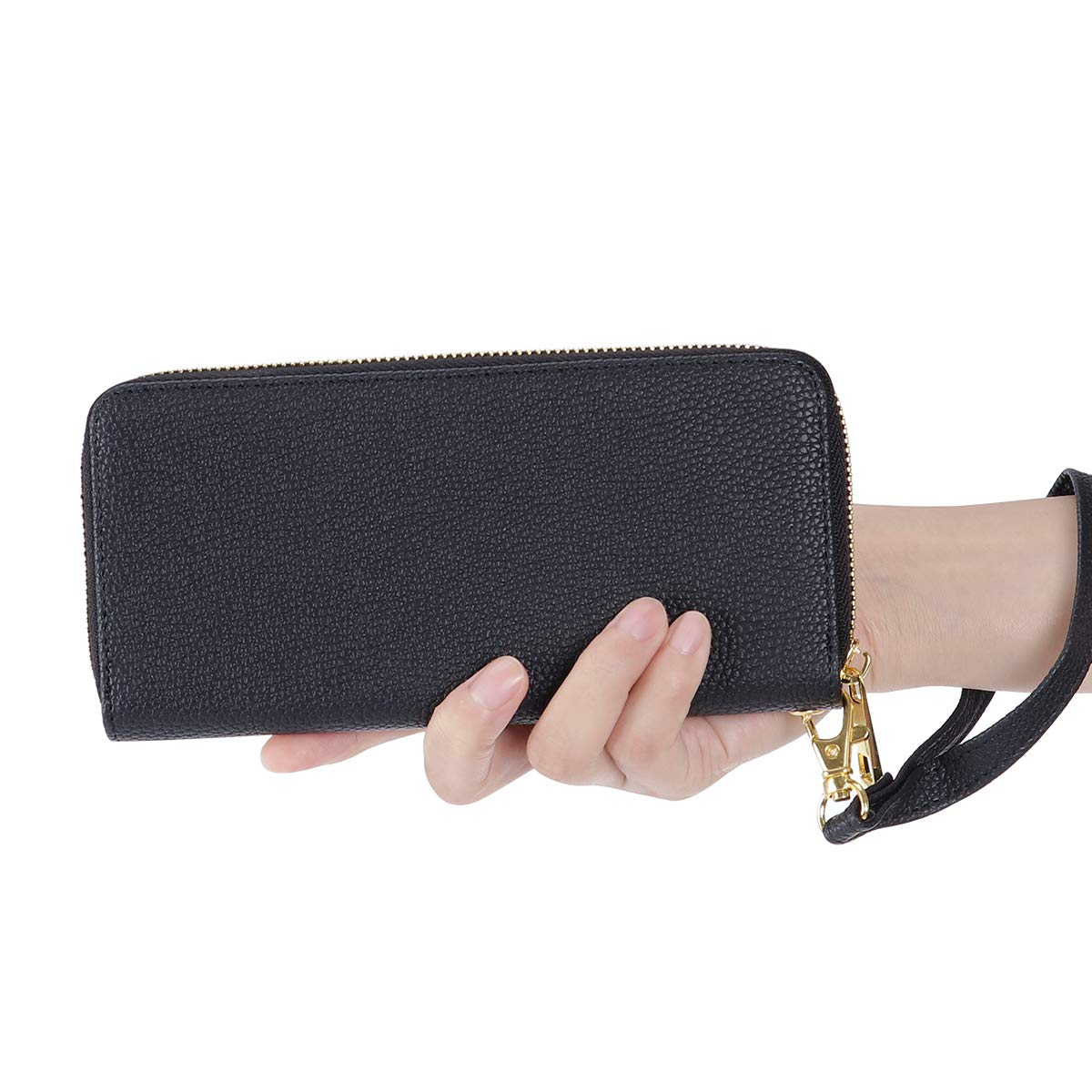 Embossing Peony HAWEE Leather Clutch Wallet for Women Zippered Wristlet Bag