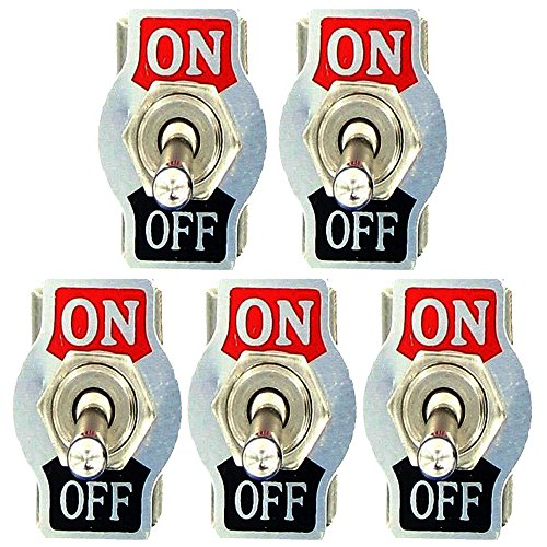 ESUPPORT Heavy Duty 20A 125V 15A 250V SPST 2 Terminal Pin ON/OFF Rocker Toggle Switch Metal Bat Pack of 5