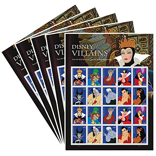 Villains 5 Sheets of 20 Forever USPS First Class one Ounce Postage Stamps Party Celebration -