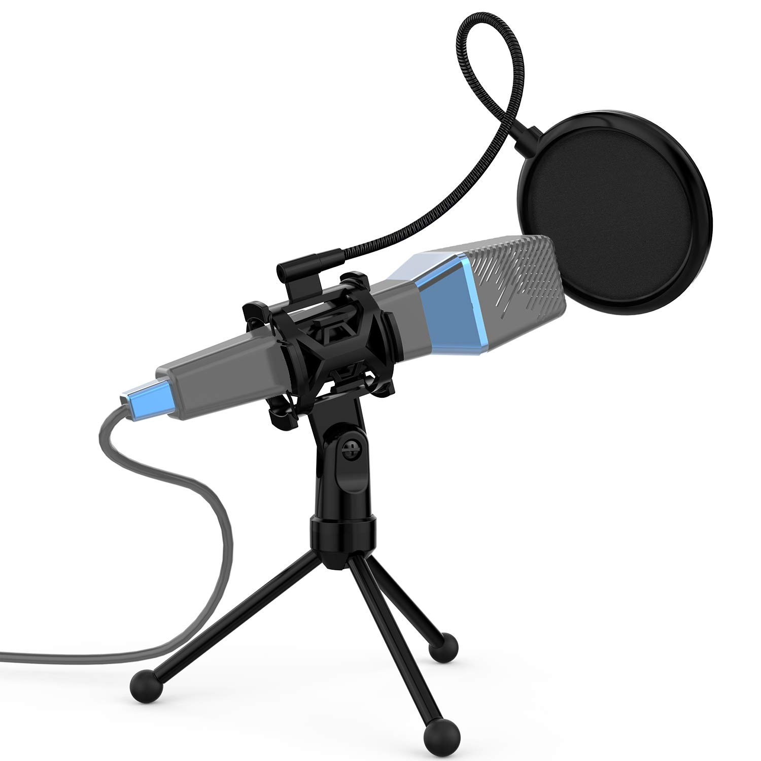 ammoon Mini Foldable Adjustable Desktop Microphone Stand Tripod with MC4 Mic Clip Holder Bracket for Meeting Lectures Podcasts