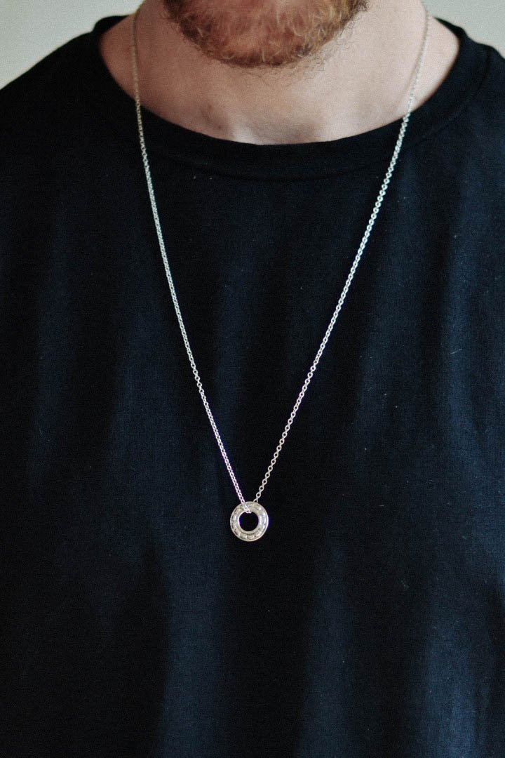 Karma necklace for men, men's necklace with a silver circle pendant, link chain necklace, gift for him, minimalist jewelry, men jewelry