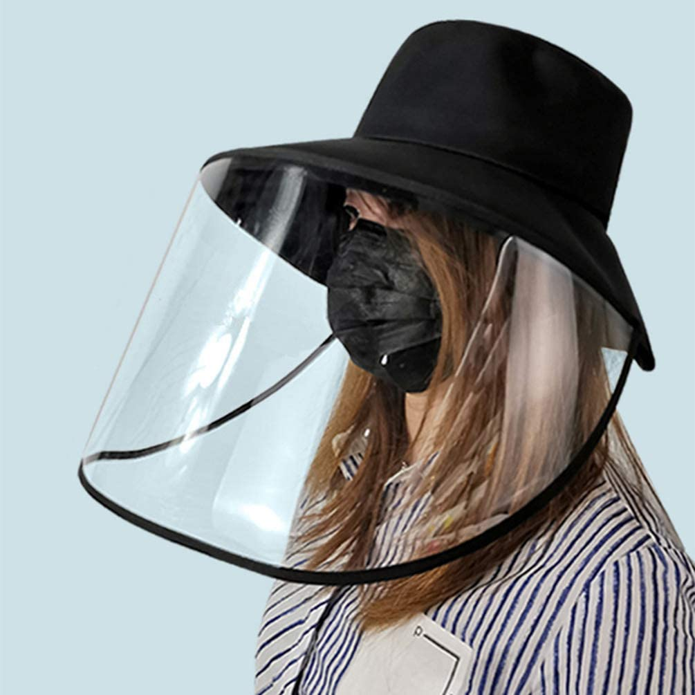 Guiran Damen Hut mit Visierschutz Gesichtsschutzschirm Staubschutz Eimerhut Abnehmbar