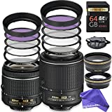 Nikon PRO Photographer Lens Kit: AF-S DX NIKKOR 55-200MM f/4-5.6G ED Vibration Reduction II Zoom Lens + Nikon AF-P DX NIKKOR 18-55mm f/3.5-5.6G VR Lens + 3 Piece Filter Kit + DigitalAndMore BUNDLE