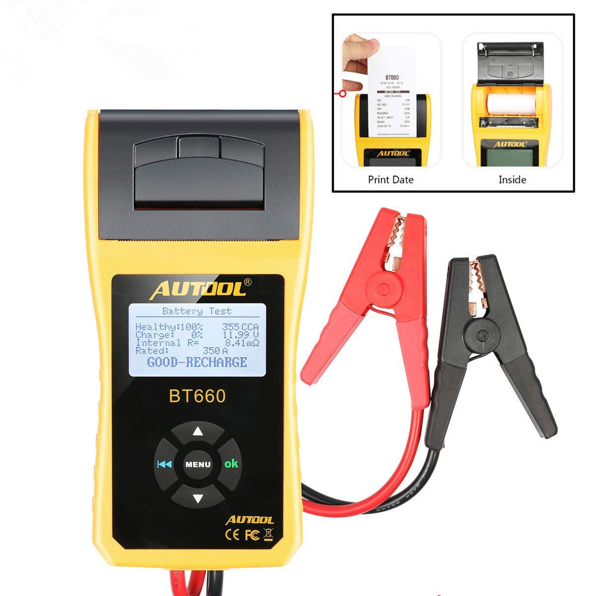 AUTOOL Automotive Battery Tester 12V/24V Car Battery System Tester Cranking and Charging Test ystem Analyzer Scan Tool with Printer (BT-660)