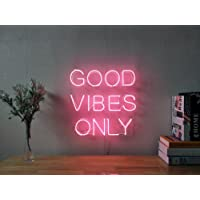 Good Vibes Only Real Glass Neon Sign For Bedroom Garage Bar Man Cave Room Home Decor Personalised Handmade Artwork Visual Art Dimmable Wall Lighting Includes Dimmer
