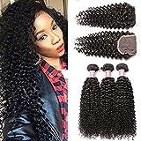 Beauty Princess Burmese Curly Hair Bundles with Closure Free Part 8A Grade 100% Unprocessed Burmese Vigin Hair Wave 3 Bundles With Lace Closure Natural Color (10 12 14 +10inch lace closure) Review