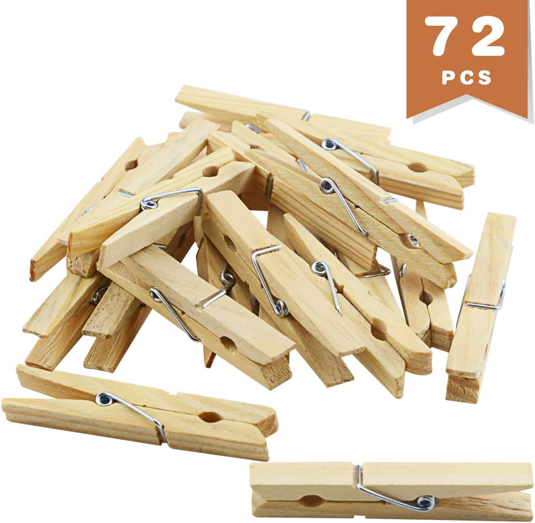 WTSHOP 72 Pcs Big Wooden Clothespins,2.8'' Wooden Art Craft Photo Hanging Clips,Clothespins for Shirts, Sheets, Pants, Decor
