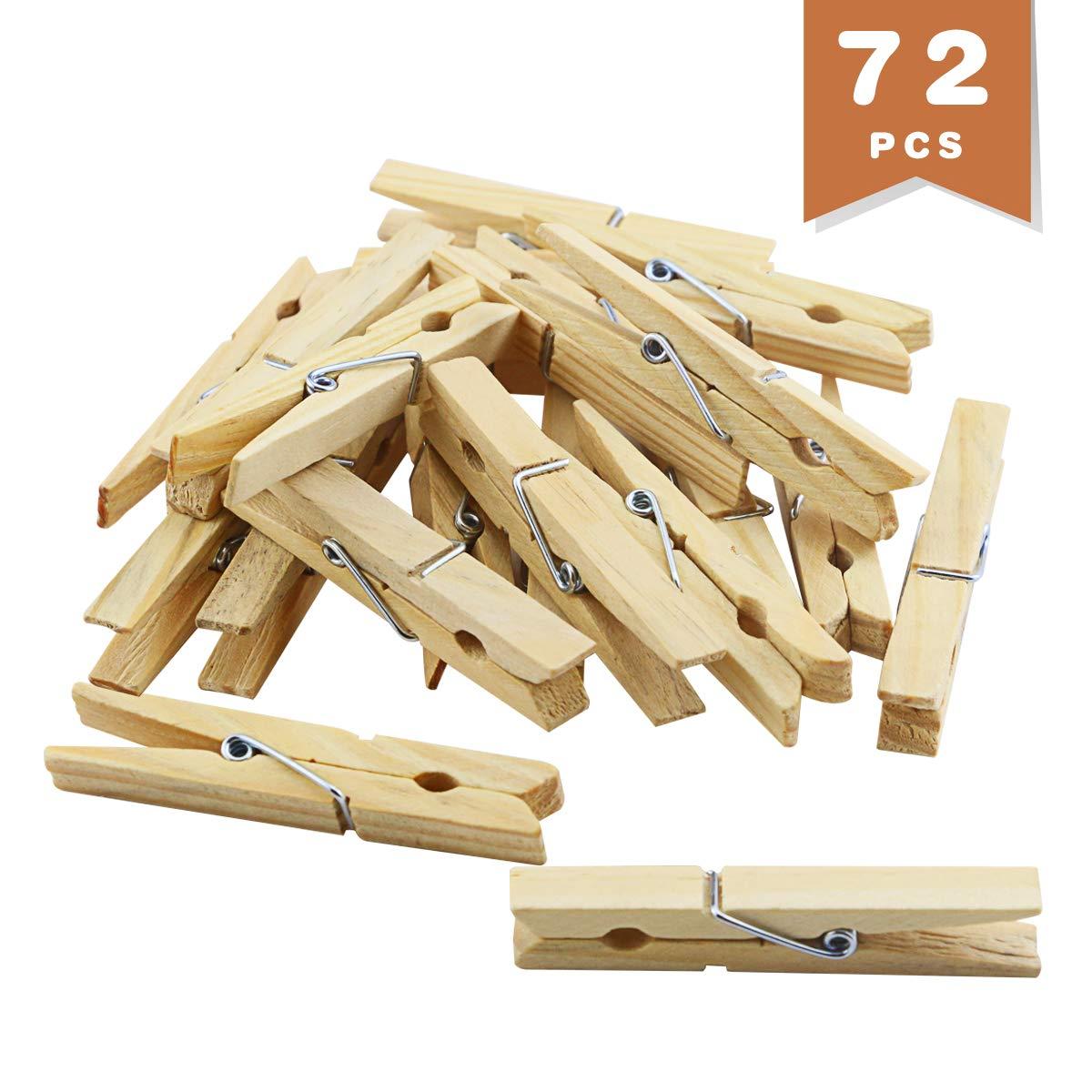 Wlnner 大型木製洗濯ばさみ 72個 2.8インチ 木製アートクラフト 写真吊り下げクリップ シャツ/シーツ/パンツ/装飾用洗濯ばさみ B07R3JK7BP