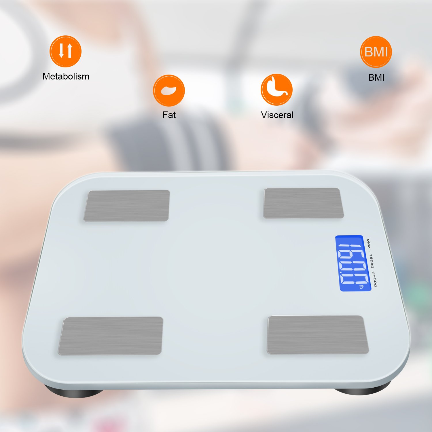 Adoric Smart Scale Bathroom Scale with Free APP for Android and IOS, Body Composition Analysis Measuring Weight, Bone, Water, Muscle, Fat, BMI, BMR by Adoric (Image #3)