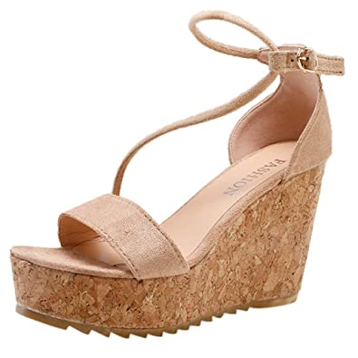 eb4689ab0b6 Amazon.com   Pengy Women Open Toe Wedges Sandals Casual Buckle Strap ...