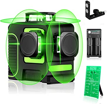 Seesii 3d Green Beam Self Leveling Laser Level 3x360 Cross Line Laser Three Plane Leveling And Alignment Line Laser Level Two 360 Vertical And One 360 Horizontal Line Amazon Com