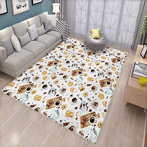 Modern Extra Large Area Rug Lunch Table with Croissant Bagels Coffee Cheese Chocolate Watercolor Artwork Bath Mat for tub 6'6