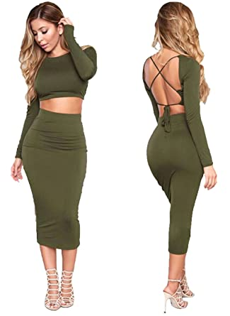 a918fb92b63 Longwu Women s Sexy Bodycon Bandage Midi Dress Long Sleeve 2 Piece Backless  Skirt Party Evening Wear