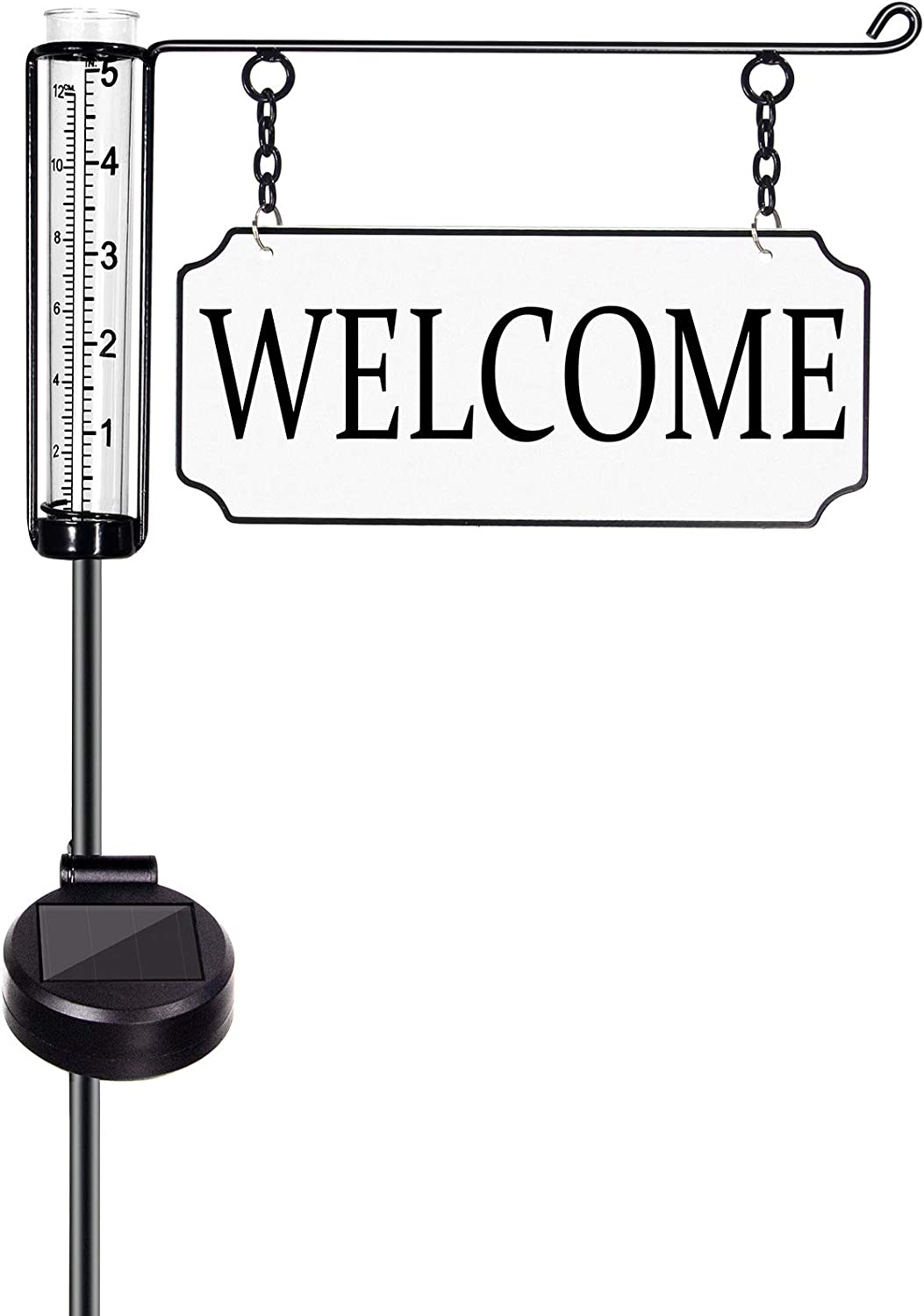 """Geevon Rain Gauge Outdoor Decorative with Solar Powered Light,Metal""""Welcome""""Yard Sign Stakes with Plastic Rain Measure Gauge for Garden Lawn Decorations"""