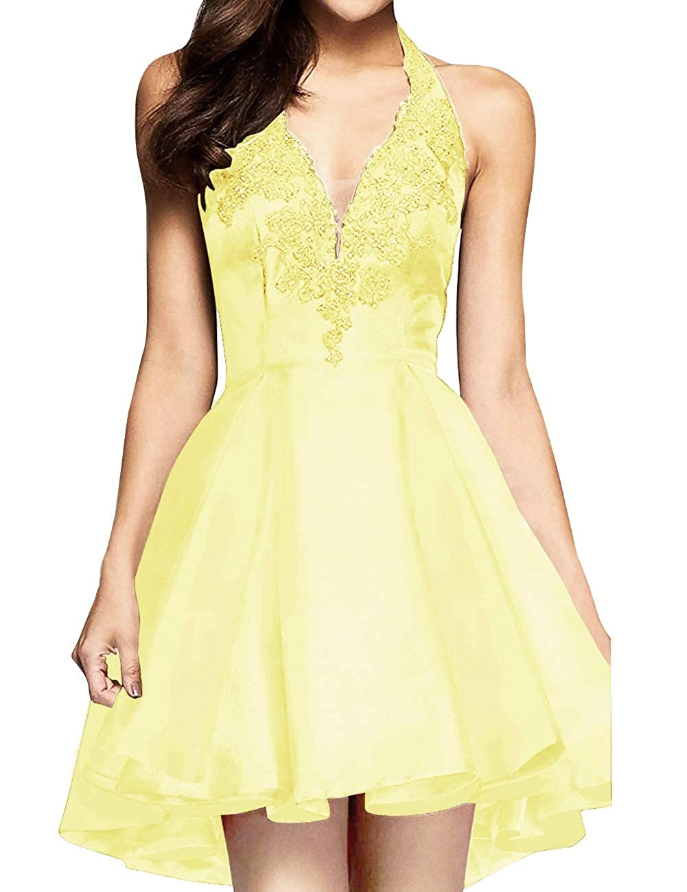 Daffodil MorySong Women's Applique Lace Satin Halter Neck Short Homecoming Cocktail Dress