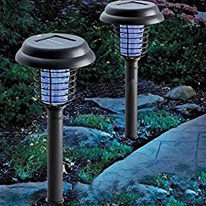 yunli HOT SALE Led Solar Power Lawn Fence Lamp UV Mosquito Bug Zapper Killer Garden Yard Light