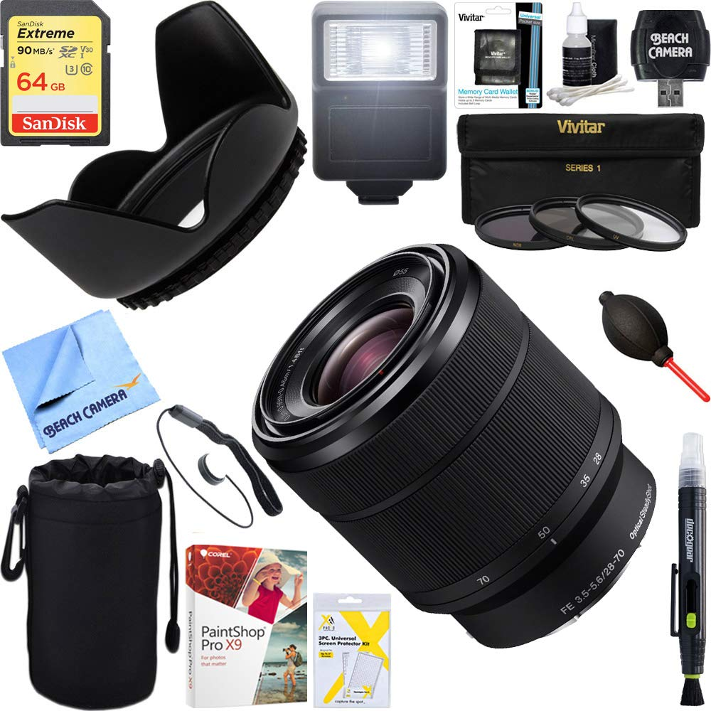 Sony (SEL2870 FE 28-70mm F3.5-5.6 OSS Full Frame E-Mount Lens + 64GB Ultimate Filter & Flash Photography Bundle by Sony