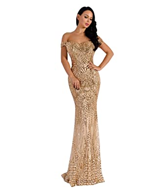 Missord Women Sleeveless Bra Word Shoulder Maxi Party Dress Gold M ... 773a0eabeaad