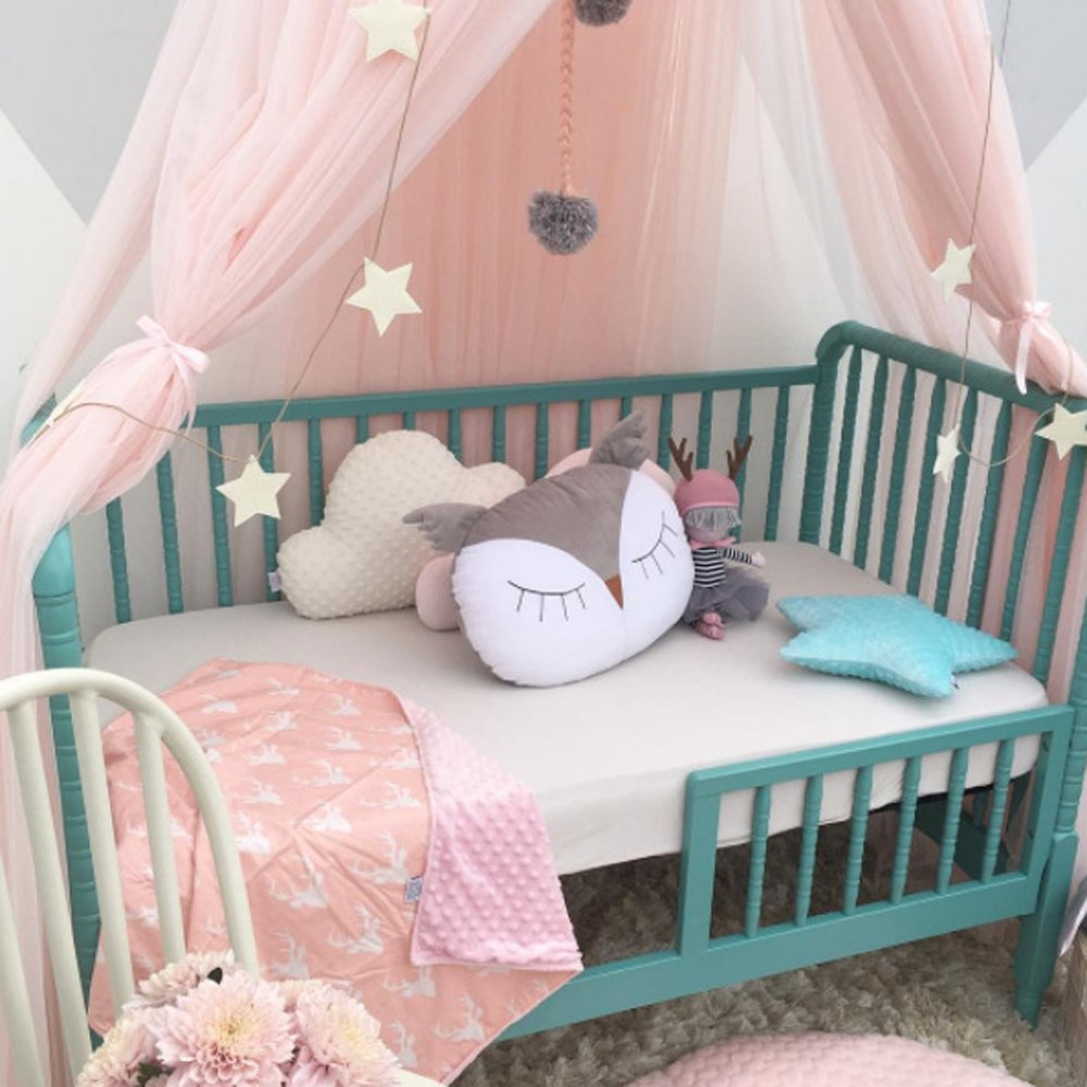 CdyBox Mosquito Net Canopy Princess Bed Canopy Kids Play Tent Children's Room Decorate Indoor Outdoor for Baby Playing (Pink)