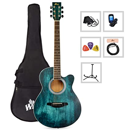 WINZZ 40 Inches Cutaway Acoustic Guitar Beginner Starter Bundle with Padded Bag, Stand, Tuner, Pickup, Strap, Picks, Blue best acoustic guitar