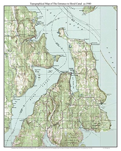 - Entrance to Hood Canal - ca. 1940 - USGS Old Topographic Map Custom Composite Washington