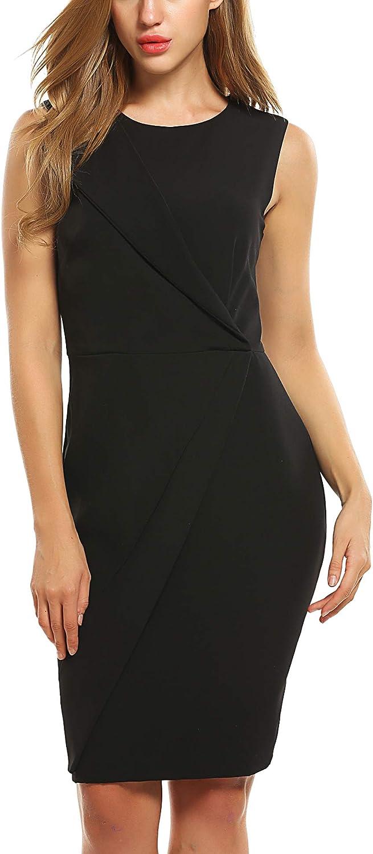 Zeagoo Damen Bodycon Kleid Wickelkleid mit Futter /Ärmellos Elegante A-Linie Cocktailkleid Partykleid Rundhals Etuikleid