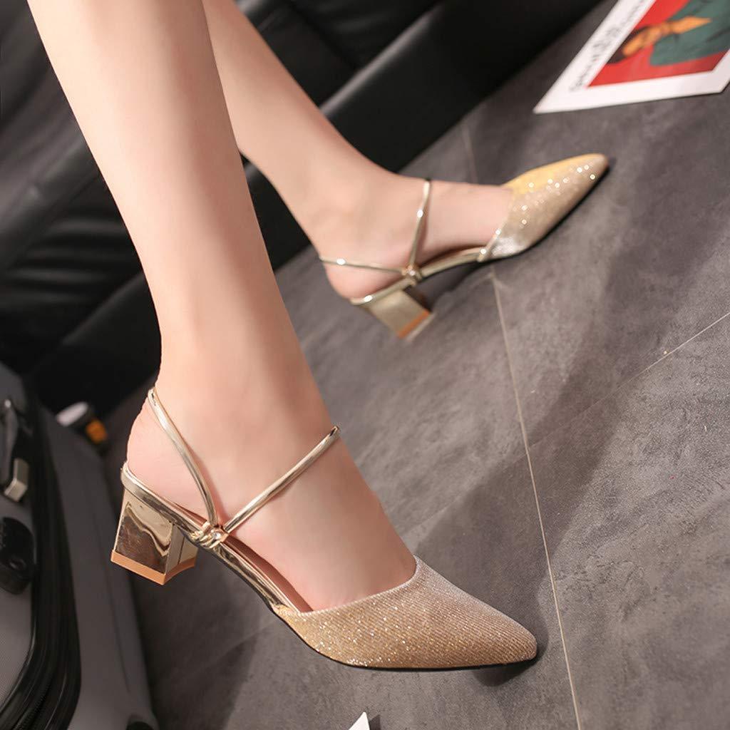 kaifongfu Women Summer Leisure Pointed Sandals Slippers Ladies Girls Fashion Wild Mid-Heel Sandal