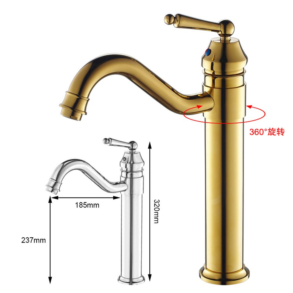 A GUJJ All copper antique continental hot cold running water is raised and the single hole on the basin Mixer Taps, Sepia
