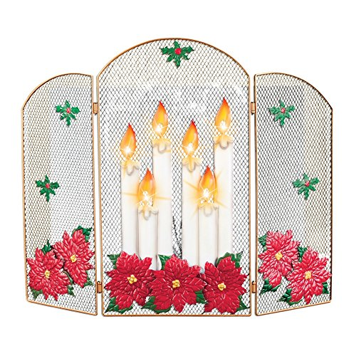 Lighted Candle Decorative Christmas Fireplace Screen