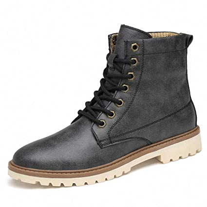 2019 New Style Leather Working Safety Shoe For Men Winter With Fur Men Casual Boots Rubber Sole Mart Boots Male British Retro Fashion Boots Basic Boots
