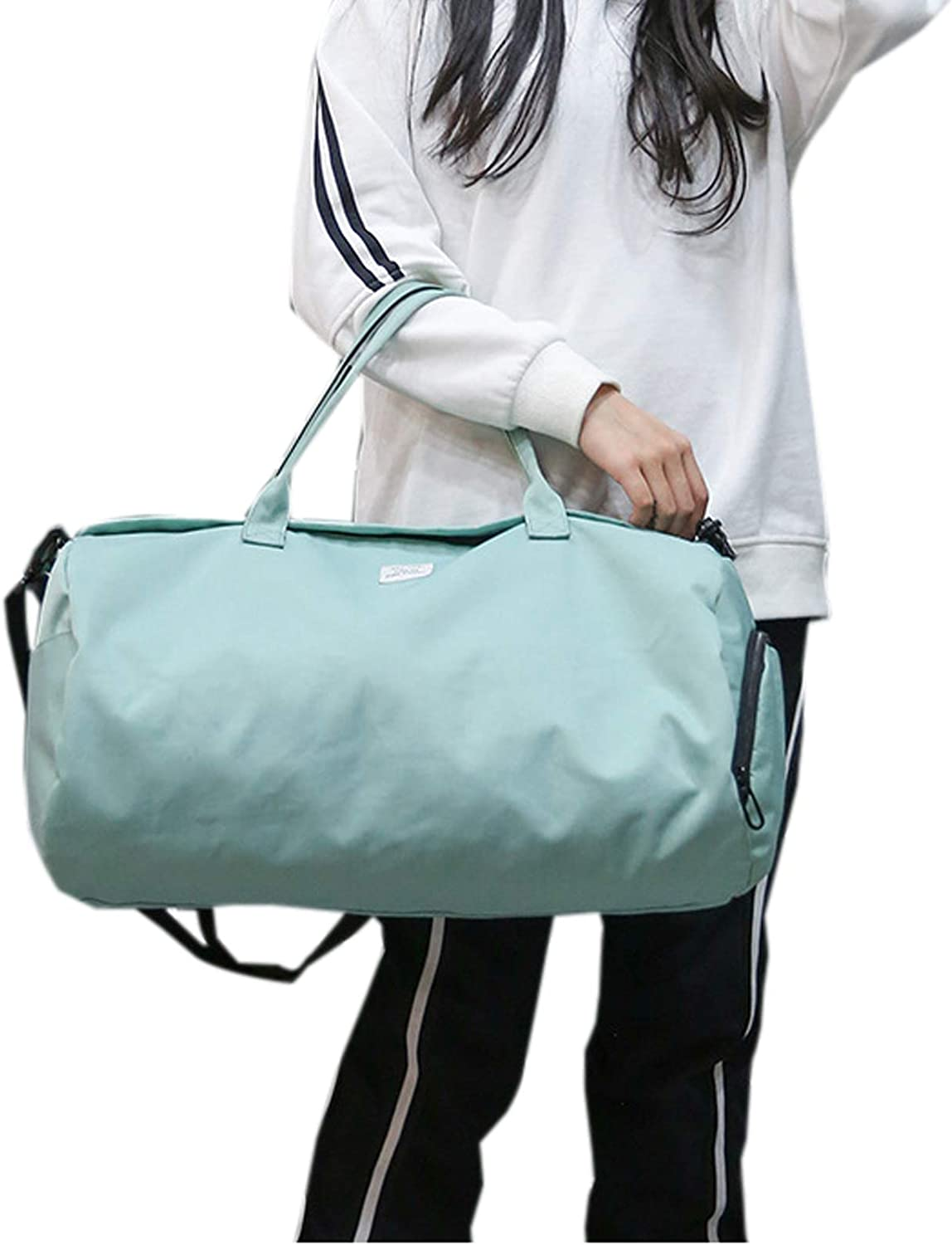 Elonglin Sports Duffle Bag Waterproof Gym Travel Bag with Shoes Compartment Green S
