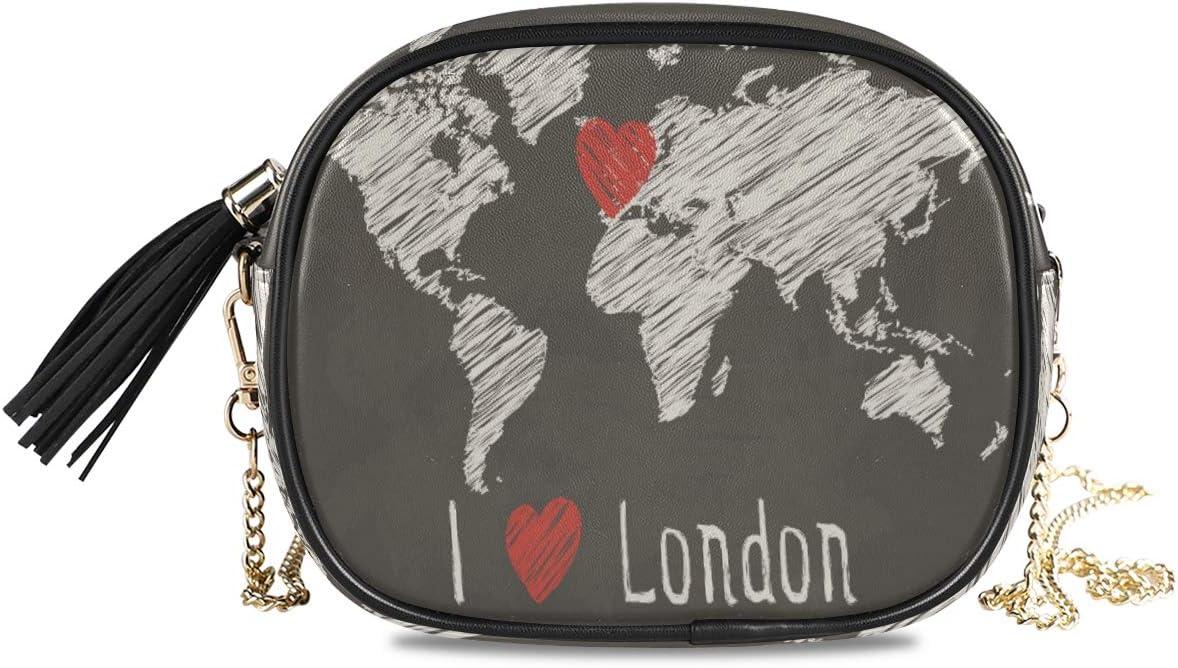 ALAZA Chalk World Map I Iove London Crossbody Bag with Adjustable Metal Chain Strap for Women Girl