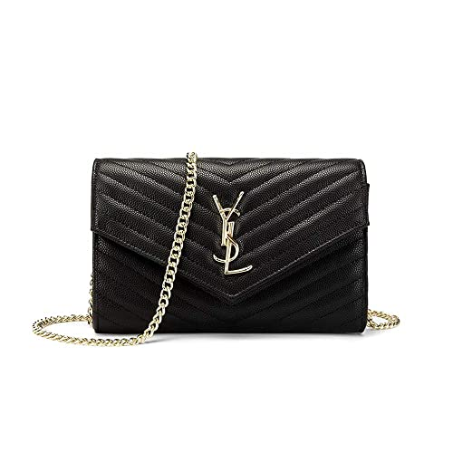 17683ce07d7 Ladies Clutch Wallet for Women Quilted Handbags Black Chain Crossbody bag  Quilted Leather Handbag
