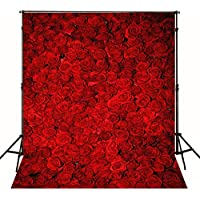 5X7FT Wedding Valentines Day Studio Background Photography Flower Backdrops Red Rose Wall Romantic for Thick Backdrop