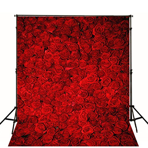 5X7FT Wedding Valentine's Day Studio Background Photography Flower Backdrops Red Rose Wall Romantic for Thick Backdrop
