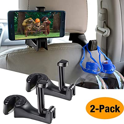 Car Hooks Car Seat Back Hooks with Phone Holder, Universal Vehicle Car Headrest Hooks Hanger with Lock and Phone Bracket for Holding Phones and Hanging Bag, Purse, Cloth, Grocery-(Black 2 Pack): Industrial & Scientific [5Bkhe1505684]